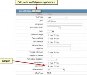 Feld call_skype in Form erstellen und als Label setzen
