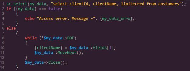 sc_select Beispiel mit Feld-Index statt Feld-Name
